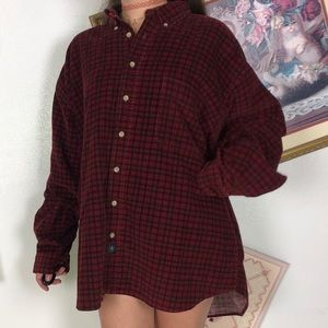 Vintage Catalina Corduroy Plaid Red Long Sleeved